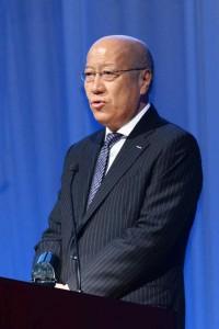 電通デジタルの発足発表会に登壇した、電通・代表取締役社長執行役員の石井直氏。