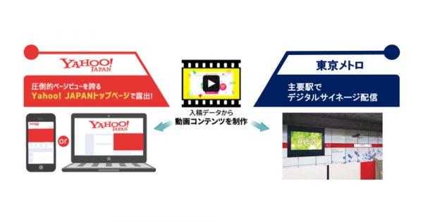 紙媒体やWeb制作データから動画を制作し、東京メトロ主要駅とYahoo! JAPANへ同時配信が実現!