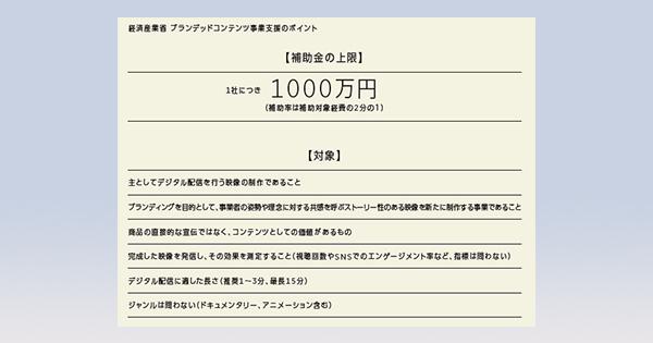 映像制作に最大1000万円を支援 経産省が10月末まで締め切り延長