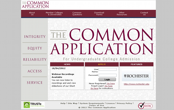 Welcome to the Common App