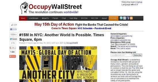 ウォール街占拠運動のトップページ