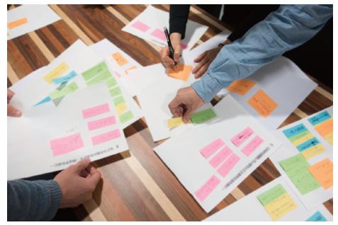 ブランディングの責任者が中心となり、時間をかけて議論を行い、関係者を巻き込みながら環境分析に自己分析を行い、さらにブランドのあるべき姿を規定していく。
